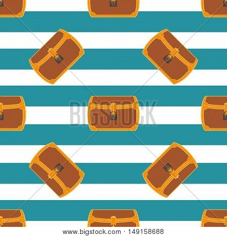 Pirate chest seamless pattern cartoon vector illustration