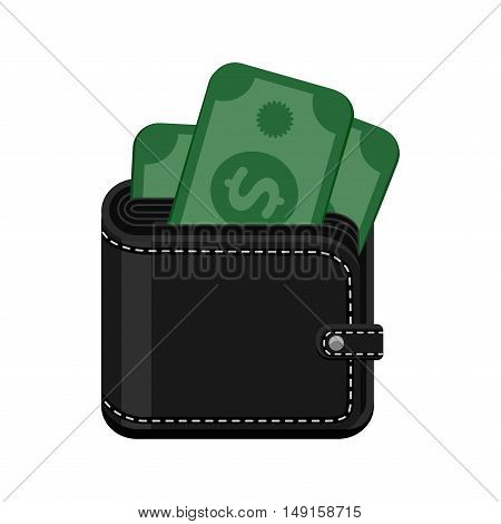 Black leather stitched wallet with cash money. Vector icon illustration isolated on white background.