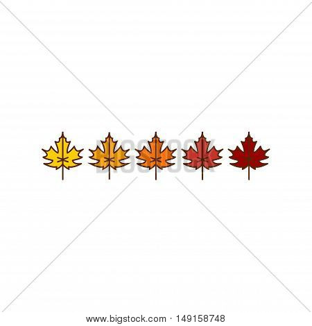 Vector autumn maple leaves icons background in yellow and red