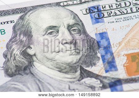 Former US president Benjamin Franklin on hundred dollar note