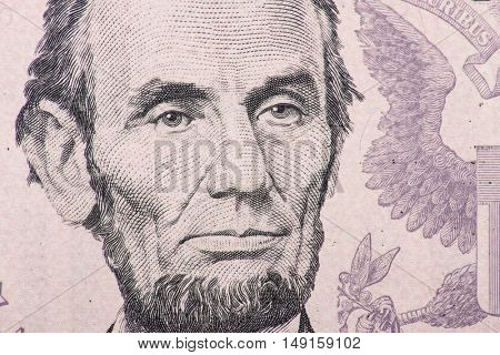Former US president Abraham Lincoln on five dollar note