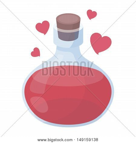 Love potion icon in cartoon style isolated on white background. Black and white magic symbol vector illustration.