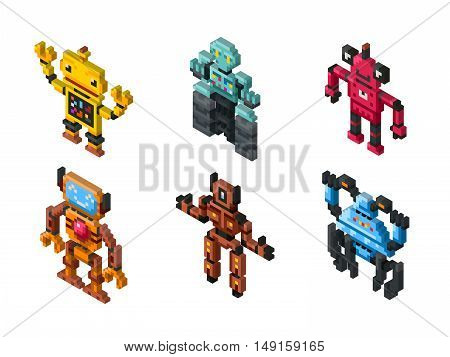 Isometric vector robot toys on white background. Set of robots and illustration friendly pixelated robot