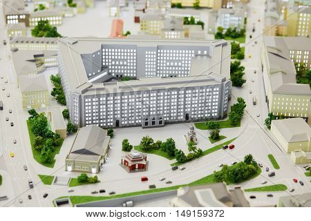 MOSCOW, RUSSIA - DEC 20, 2014: Miniature of General Staff of Russian Armed Forces building on Moscow layout at VDNKH exhibition.