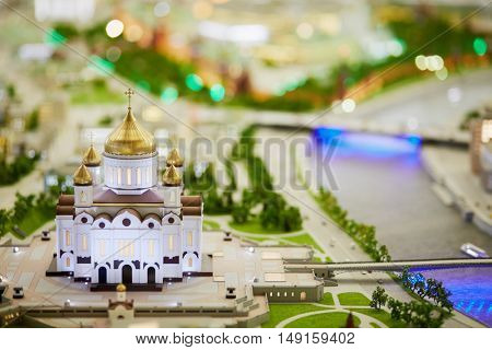 MOSCOW, RUSSIA - DEC 20, 2014: Miniature of Cathedral of Christ the Saviour on Volkhonka street on the northern bank of the Moskva River at VDNKH exhibition.