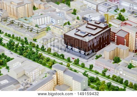 MOSCOW, RUSSIA - DEC 20, 2014: Miniature of the Moscow Academic Art Theater named by M.Gorky on Moscow layout at VDNKH exhibition.