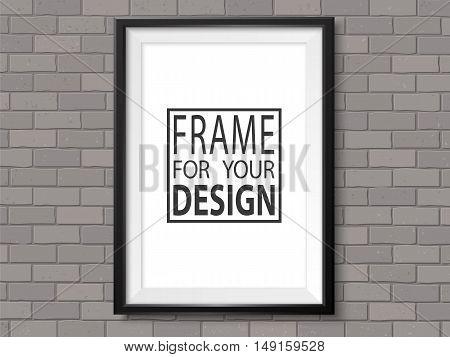 Frame Grey Brick Wall Photoframe Mockup Vector Dark Black