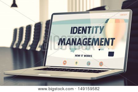 Identity Management on Landing Page of Laptop Display. Closeup View. Modern Conference Hall Background. Blurred Image with Selective focus. 3D.