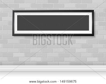 Frame On Grey Bricks Wall Mock Up Vector Horizontal Black