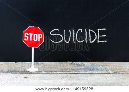 Stop Suicide Message Written On Chalkboard