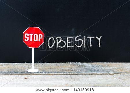 Stop Obesity Message Written On Chalkboard