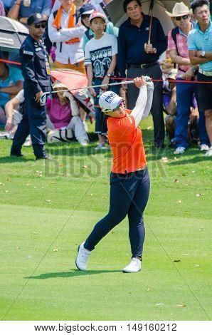CHONBURI - FEBRUARY 28 : Amy Yang of South Korea in Honda LPGA Thailand 2016 at Siam Country Club Pattaya Old Course on February 28 2016 in Chonburi Thailand.