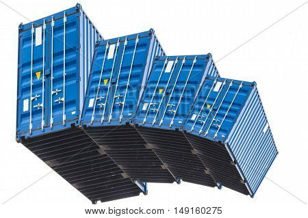 A stack of four blue sea container isolated on white background