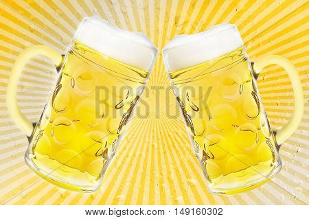 Beer glass or beer mug on retro stripes background