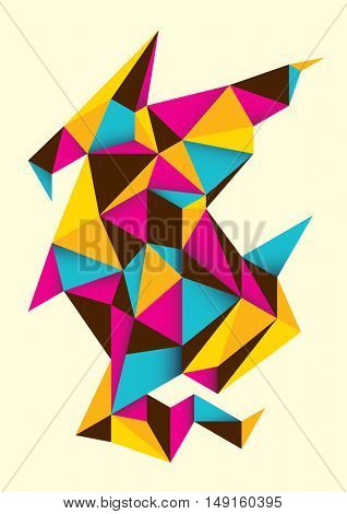 Geometric abstract object in color. Vector illustration.