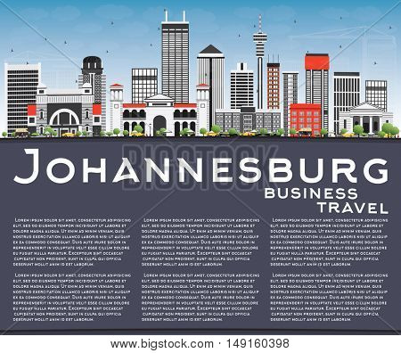 Johannesburg Skyline with Gray Buildings, Blue Sky and Copy Space. Vector Illustration. Business Travel and Tourism Concept with Modern Buildings. Image for Presentation and Banner.