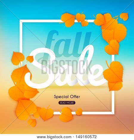 Fall sale Banner with autumn leaf. Poster Flyer. Blurred background. Vector illustration.