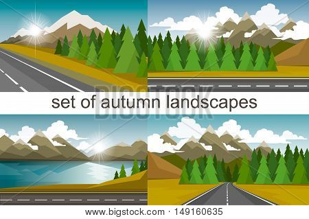 Vector illustration in a flat style. Set of autumn landscapes.