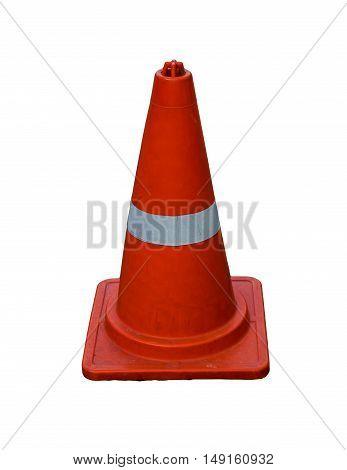 Traffic cone Orange Isolate on white background