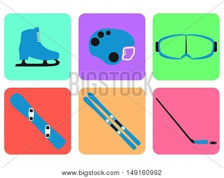 Winter Sports Equipment Collection On White Background. Flat Isolated Set Icon. Vector Illustration.