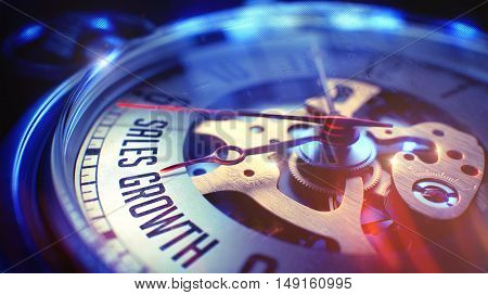 Sales Growth. on Watch Face with Close View of Watch Mechanism. Time Concept. Vintage Effect. Pocket Watch Face with Sales Growth Phrase on it. Business Concept with Vintage Effect. 3D Render.