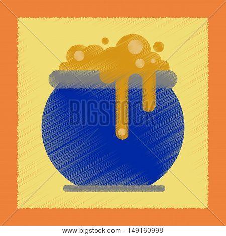 flat shading style icon of halloween witches cauldron