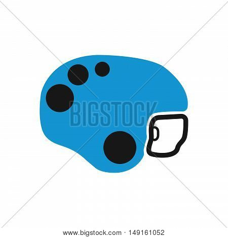 Winter Sports Equipment On White Background. Flat Helmet Skates Icon. Vector Illustration.
