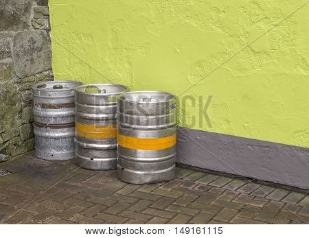 Beer and cider kegs outside a public house in Ireland.