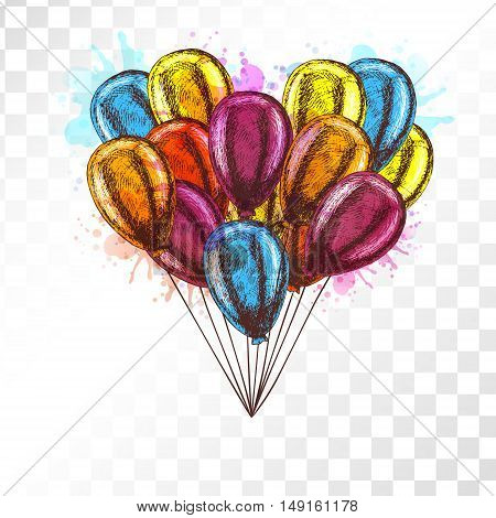 Balloons on transparent background. Vector sketch for greeting cards heart shaped. Bunch of balloons isolated. Yellow red orange blue balloons. Doodle design. Retro vintage style. Watercolor spots.