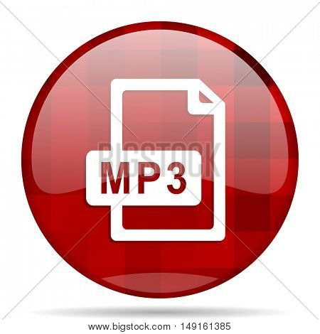 mp3 file red round glossy modern design web icon
