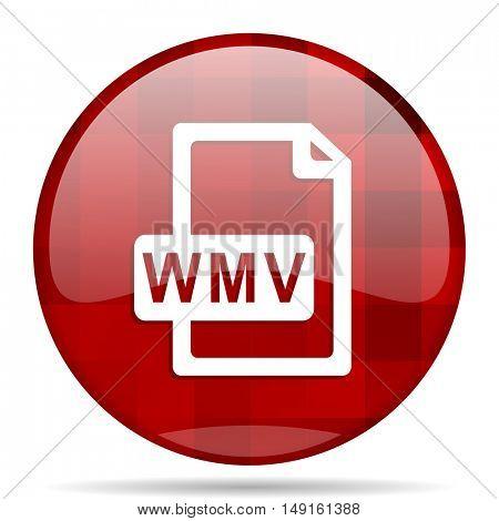 wmv file red round glossy modern design web icon