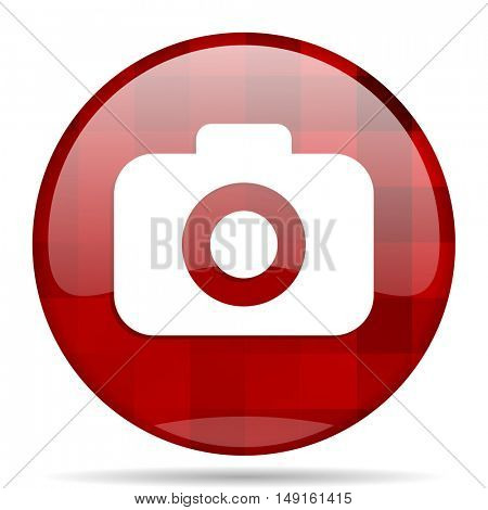 photo camera red round glossy modern design web icon