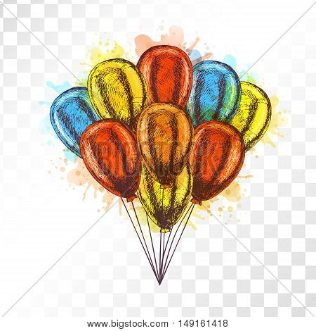 Balloons on transparent background. Vector sketch for greeting cards. Bunch of balloons isolated. Yellow red orange blue balloons. Doodle design. Retro vintage style. Watercolor spots.