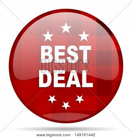 best deal red round glossy modern design web icon