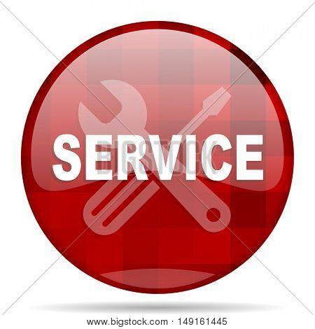 service red round glossy modern design web icon