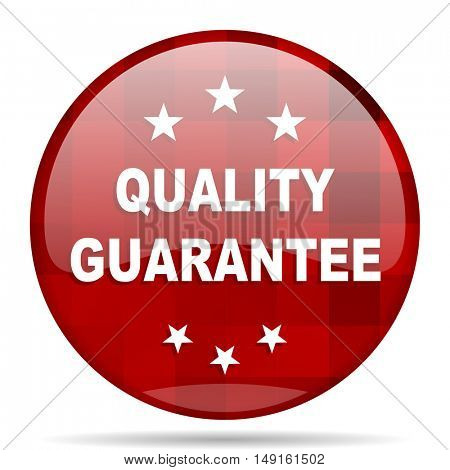 quality guarantee red round glossy modern design web icon