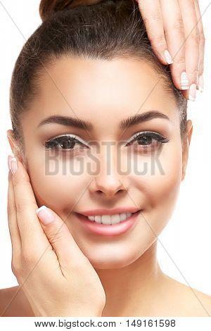 Beautiful young woman, closeup. SPA concept.
