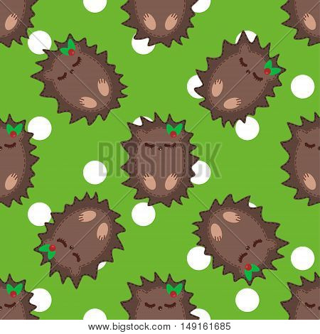 Cute cartoon hedgehog vector seamless pattern illustration