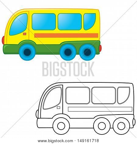 Cartoon bus toy. Coloring book. Vector illustration