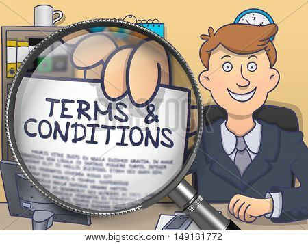 Terms and Conditions. Text on Paper in Business Man's Hand through Magnifier. Multicolor Doodle Illustration.