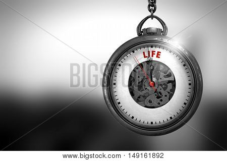 Business Concept: Life on Pocket Watch Face with Close View of Watch Mechanism. Vintage Effect. Pocket Watch with Life Text on the Face. 3D Rendering.