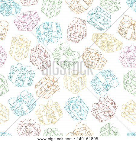 Hand drawn seamless pattern with gifts boxes