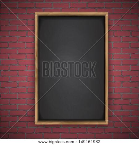 Menu chalkboard on red brick background, wooden frame