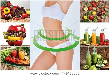 Young healthy woman with green vegetables. Concept of diet and healthy foods