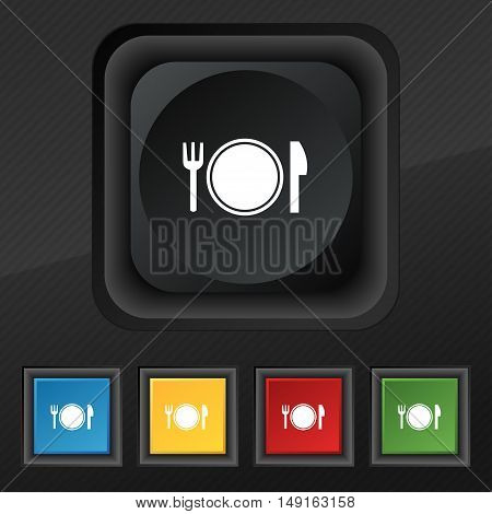 Plate Icon Symbol. Set Of Five Colorful, Stylish Buttons On Black Texture For Your Design. Vector