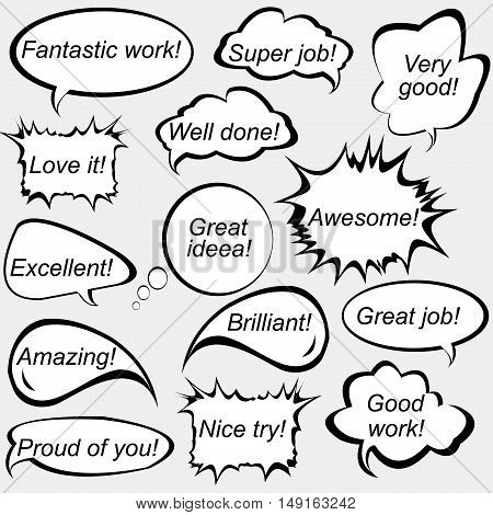 Set of speech bubbles with positive feedback messages