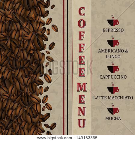 Coffee Menu Background With Coffee Beans.