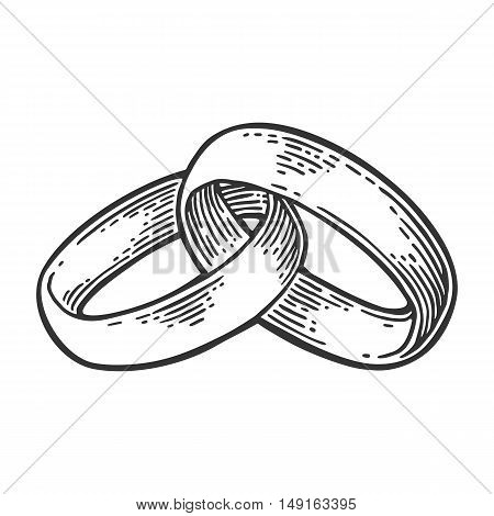Wedding rings. Hand drawn in a graphic style. Vintage black vector engraving illustration for info graphic poster web. Isolated on white background