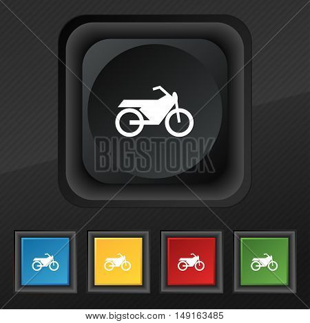 Motorbike Icon Symbol. Set Of Five Colorful, Stylish Buttons On Black Texture For Your Design. Vecto