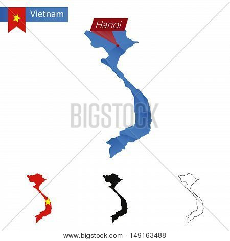 Vietnam Blue Low Poly Map With Capital Hanoi.